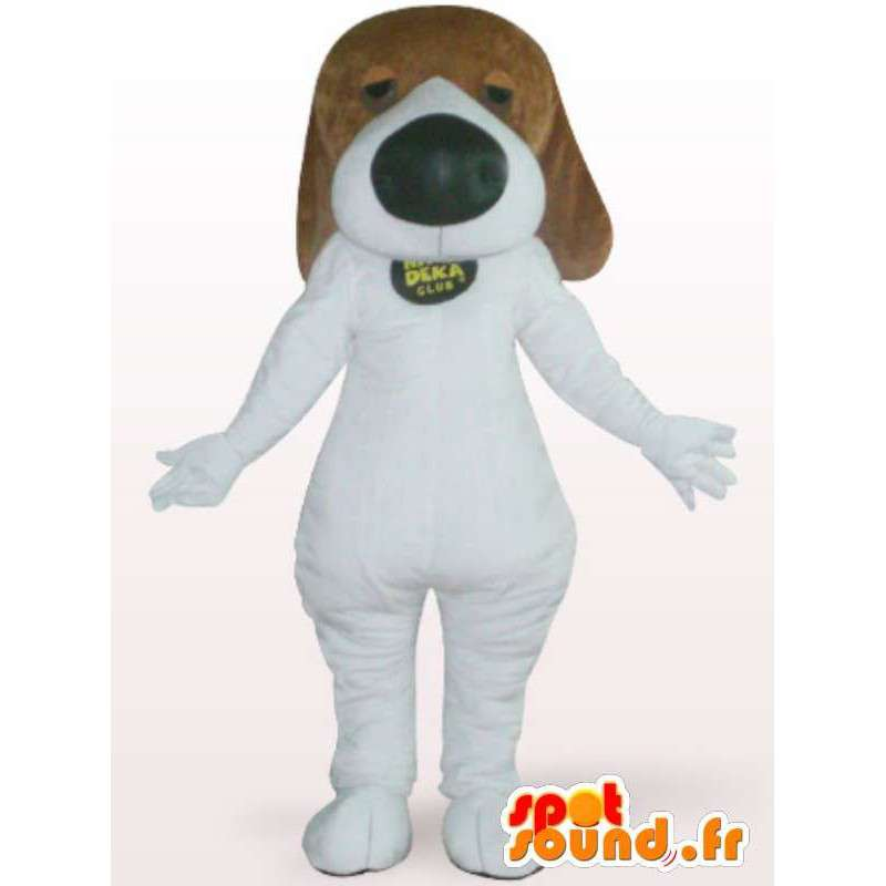 Hund maskot med en stor nese - Kostyme hvit hund - MASFR001116 - Dog Maskoter