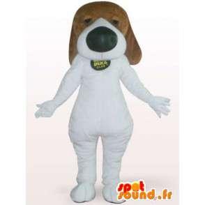Pes maskot s velkým nosem - převlek bílého psa - MASFR001116 - psí Maskoti