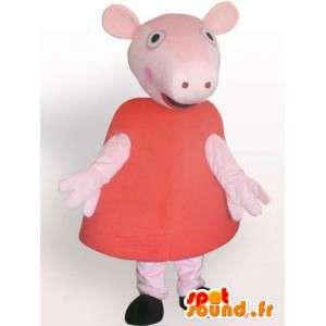 Mascotte de cochon en robe - Déguisement d'animal de ferme