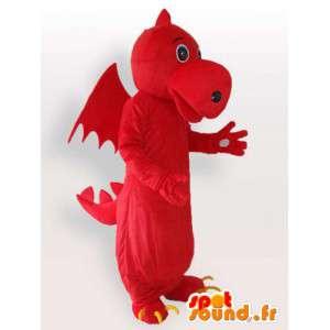 赤いドラゴンのマスコット-架空の動物のコスチューム-MASFR001123-ドラゴンのマスコット