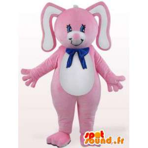 青い弓のウサギのマスコット-齧歯動物の衣装-MASFR001099-ウサギのマスコット