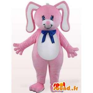Kanin maskot med blå sløjfe - Gnaver kostume - Spotsound maskot