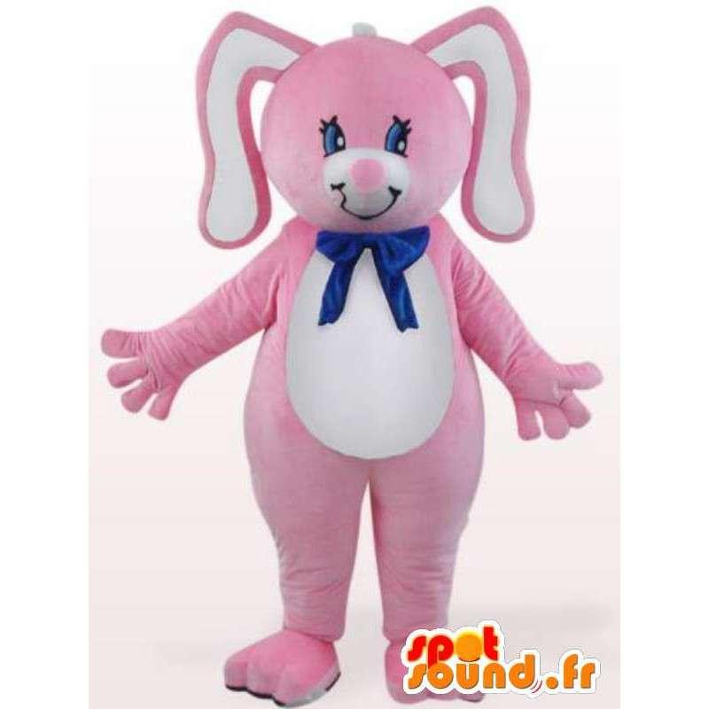 Kaninmaskot med blå rosett - Gnagardräkt - Spotsound maskot