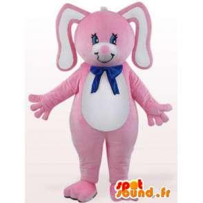 Rabbit maskot med blå sløyfe - gnager Disguise - MASFR001099 - Mascot kaniner