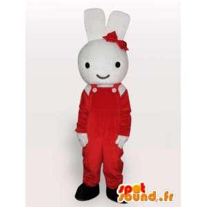 Mascotte de lapin avec nœud rouge - Déguisement de rongeur