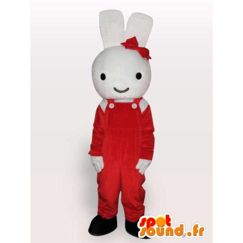 Mascotte de lapin avec nœud rouge - Déguisement de rongeur - MASFR001134 - Mascotte de lapins
