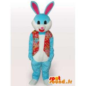 Grappige blauwe konijn mascotte - grappige dieren kostuum