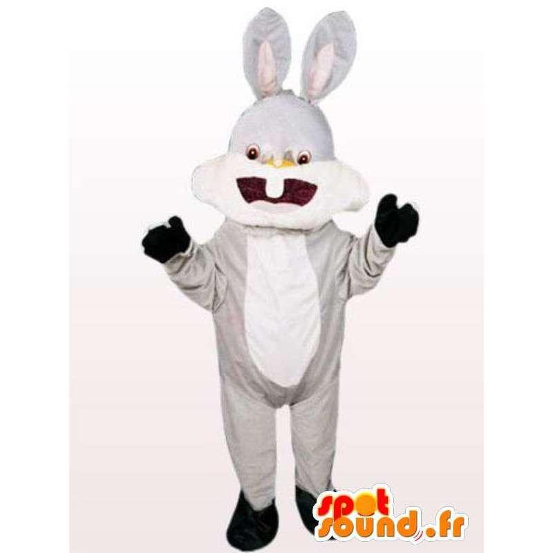 Lachen konijn mascotte - wit konijn kostuum alle maten - MASFR00962 - Mascot konijnen