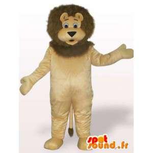 Lejonmaskot med stor man - Plyschlejondräkt - Spotsound maskot