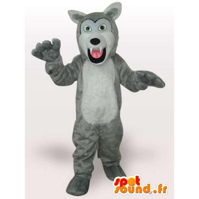 熾烈な白い狼のマスコット - 高品質の狼の衣装 - MASFR00951 - ウルフマスコット