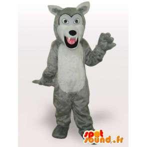 Mascot lobo branco feroz - traje lobo qualidade - MASFR00951 - lobo Mascotes