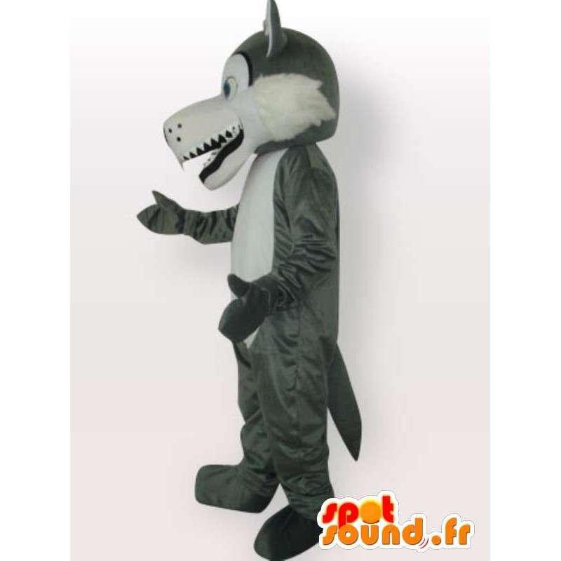 Mascotte de loup des neiges - Déguisement de loup gris - MASFR00976 - Mascottes Loup