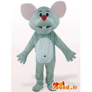 Rød næsemus maskot - grå gnaver kostume - Spotsound maskot