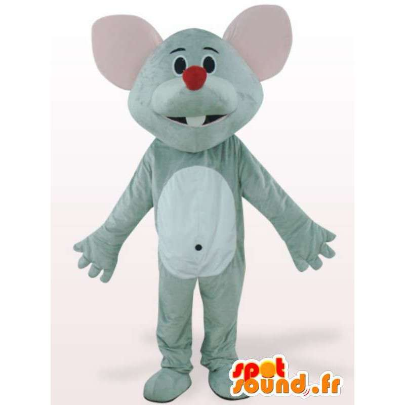 Mouse mascot red nose - Disguise rodent gray - MASFR001147 - Mouse mascot