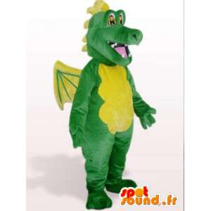 Green dragon mascot with wings - with costume accessories