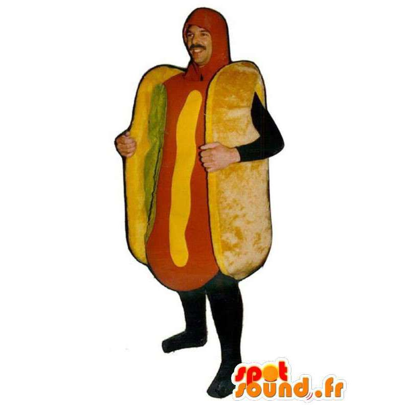 Mascotte hotdog met salade - sandwich Disguise - MASFR001142 - Fast Food Mascottes