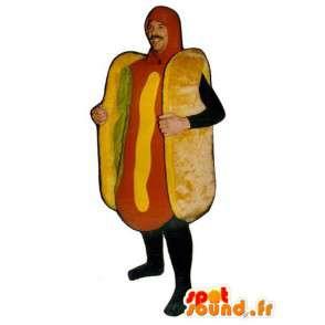 Μασκότ hot dog με σαλάτα - σάντουιτς μεταμφίεση - MASFR001142 - Fast Food Μασκότ