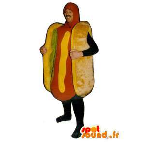 Mascotte hot dog avec salade - Déguisement sandwich - MASFR001142 - Mascottes Fast-Food