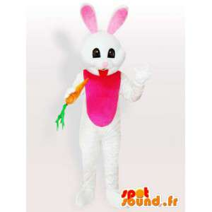 Coelho branco da mascote com cenoura - Disguise animal floresta - MASFR001114 - coelhos mascote
