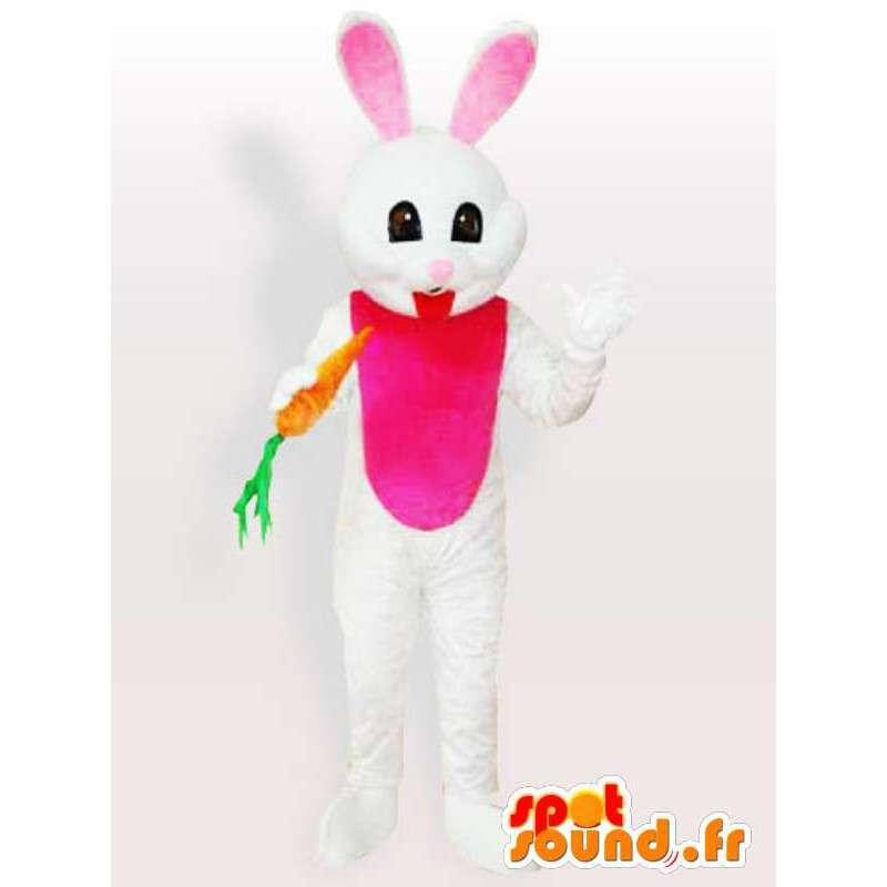 Conejo blanco con la mascota de la zanahoria - Disfraces de animales del bosque - MASFR001114 - Mascota de conejo