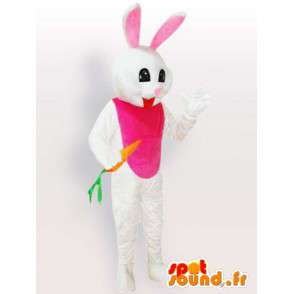 White rabbit with carrot mascot - Disguise animal of the forest - MASFR001114 - Rabbit mascot