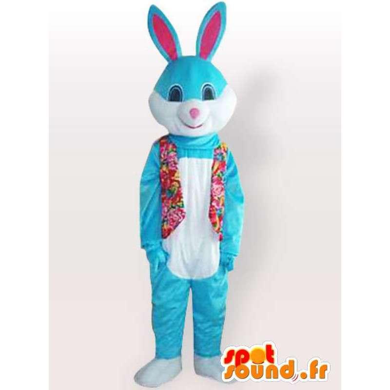 Mascot blauw konijn met bloemen vest - konijnkostuum - MASFR001140 - Mascot konijnen