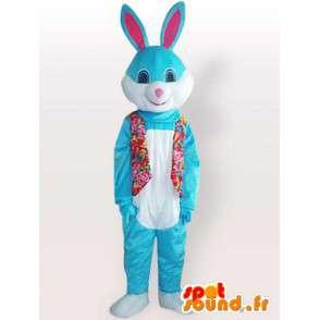 Μασκότ μπλε κουνέλι με floral γιλέκο - φορεσιά κουνέλι - MASFR001140 - μασκότ κουνελιών