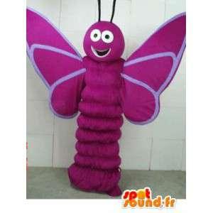 Maskot lilla sommerfugl larve - insekt kostyme skogen