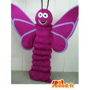 Purple butterfly larva Mascot - Costume forest insect