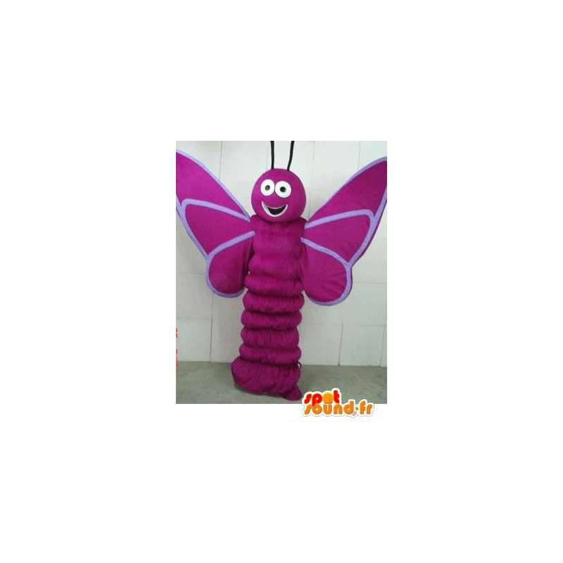 Mascotte paarse vlinder larve - insect kostuum bos - MASFR00278 - mascottes Butterfly