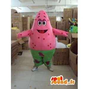 Mascot celebração colorida - cor rosa e traje verde - MASFR001197 - Mascotes não classificados