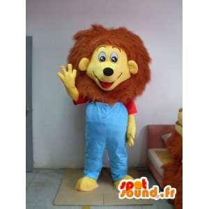 Lion Kostüm gekleidet in blau - Kostüm alle Größen - MASFR001198 - Löwen-Maskottchen