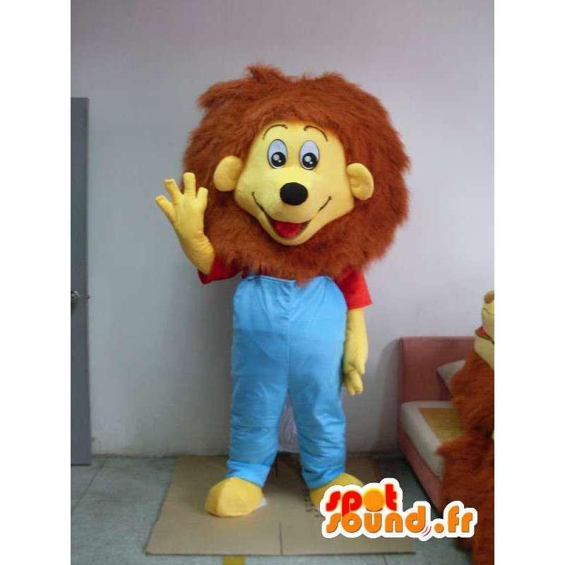 Traje de león vestido de azul - traje todos los tamaños - MASFR001198 - Mascotas de León