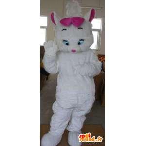 Plys kat kostume - kostume med lyserød sløjfe - Spotsound maskot