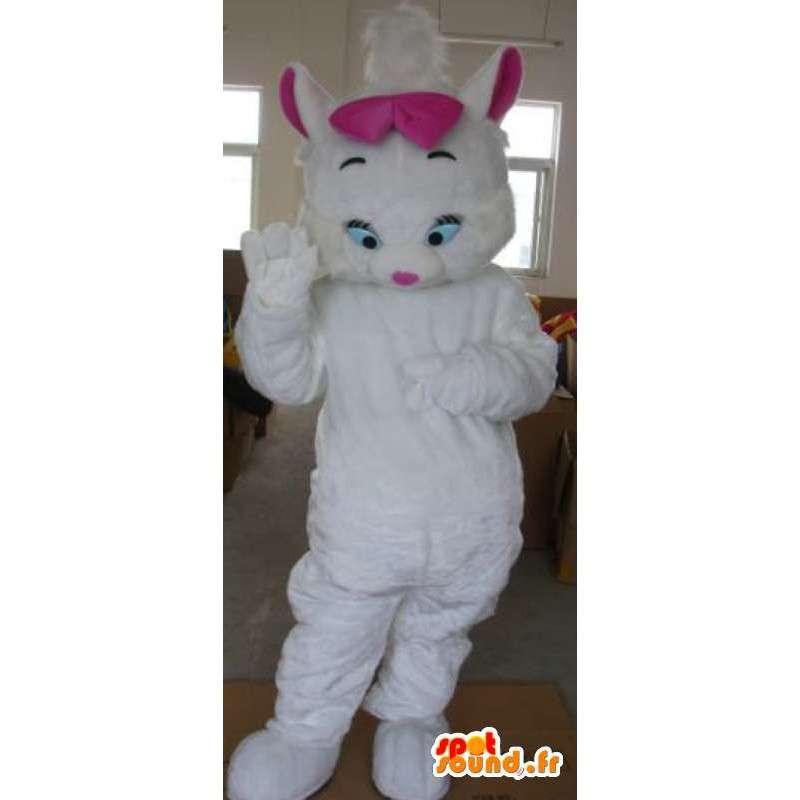 γάτα κοστούμι βελούδου - φορεσιά με ροζ φιόγκο - MASFR001161 - Γάτα Μασκότ