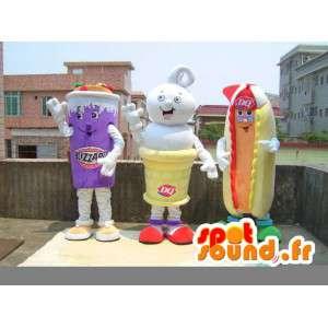 Mascotes comida recheado - traje com acessórios