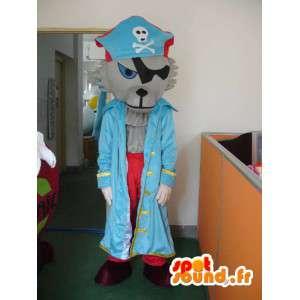 Lupo mascotte pirata - costume del pirata con accessori - MASFR001164 - Mascotte lupo