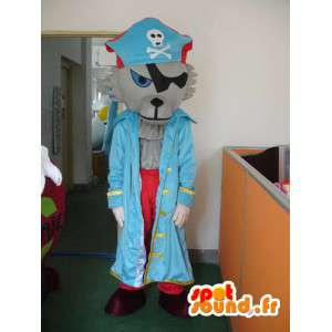 Mascotte de loup pirate - Déguisement avec accessoires de pirates