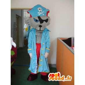 Mascotte de loup pirate - Déguisement avec accessoires de pirates - MASFR001164 - Mascottes Loup