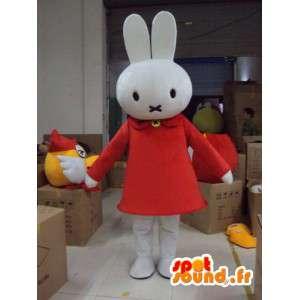 Bílý zajíček maskot kostým s šaty-šaty s plyše