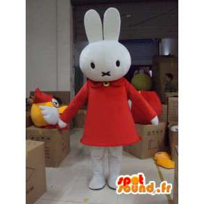 Mascot conejo blanco con el vestido-vestido de traje de felpa - MASFR001166 - Mascota de conejo