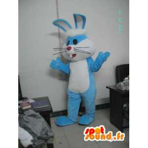 Azul traje do coelho com orelhas grandes - traje do coelho - MASFR001175 - coelhos mascote
