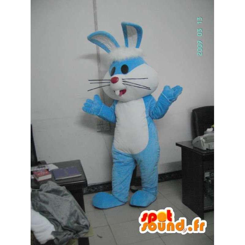 μπλε κοστούμι λαγουδάκι με μεγάλα αυτιά - φορεσιά κουνέλι - MASFR001175 - μασκότ κουνελιών