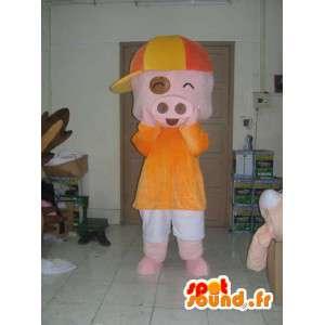 服を着た豚のコスチューム-すべてのサイズを偽装-MASFR001178-豚のマスコット