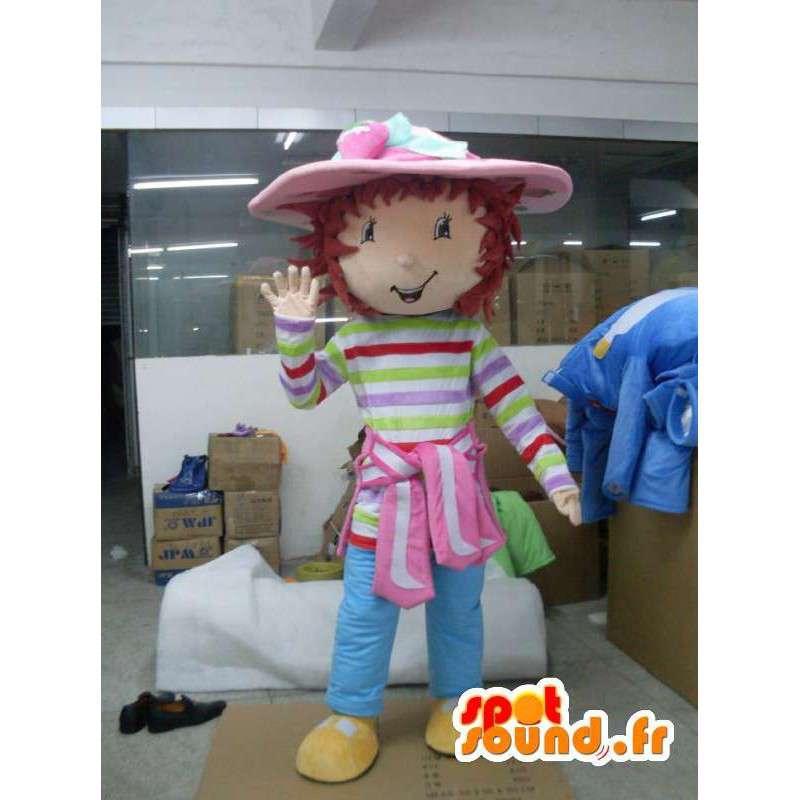 Mascotte de fillette au chapeau - Déguisement avec accessoires - MASFR001185 - Mascottes Garçons et Filles