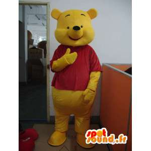 Mascotte de winnie l'ourson jaune et rouge – Anglais ou Français - MASFR001204 - Mascottes Winnie l'ourson