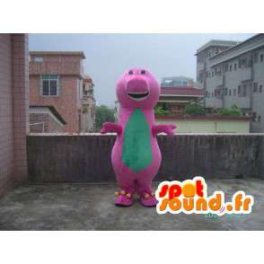 Mascotte reptile rigolard rose et vert avec de belles dents - MASFR00625 - Mascottes de reptiles