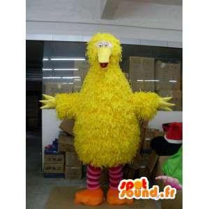 Mascotte de canari jaune style poussin jaune en peluche et fibres