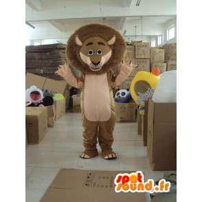 Lion Mascot Madagaskar - kuuluisa leijona puku lisävarusteilla - MASFR001211 - Lion Maskotteja
