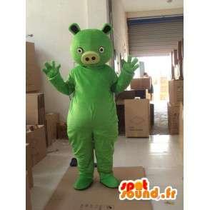 Mascotte de monstre vert style cochon - Costume de fête - MASFR00734 - Mascottes Cochon